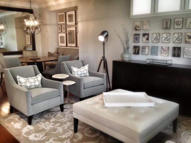 Serene Family Home Transitional Living Room