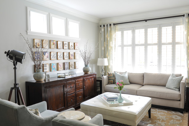 Lovely Example Of A Small Transitional Open Concept Living Room Design In  Vancouver With Gray Walls And Part 15