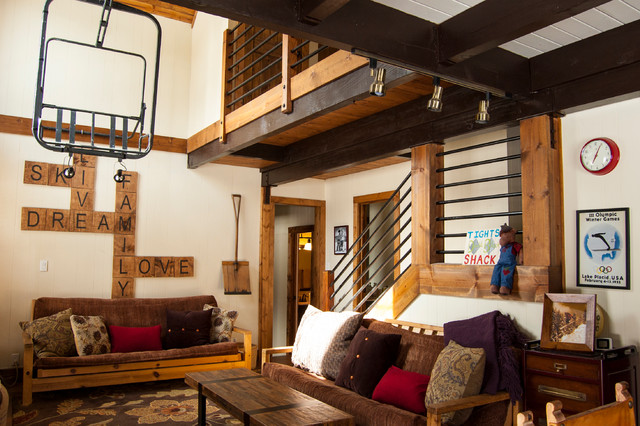 Serene Lakes Cabin Rustic Living Room Sacramento