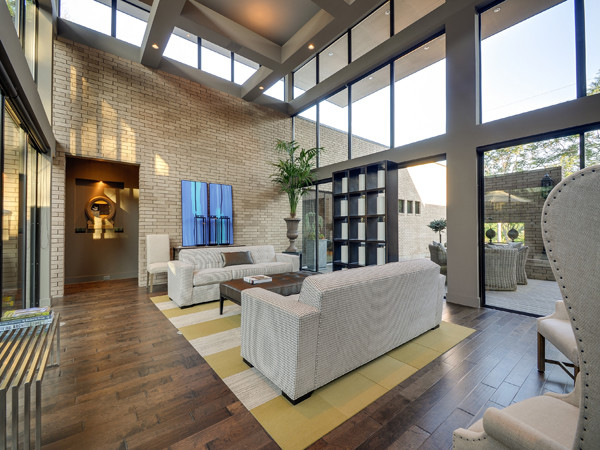 Serenity the woodward project modern living room for Classic urban house plans
