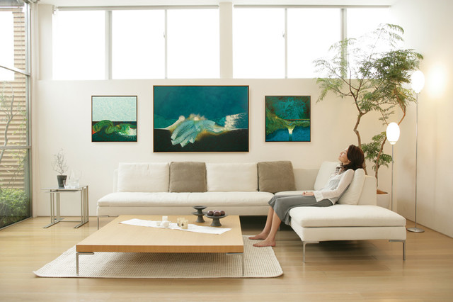Series Of Canvas Paintings In Wood Floater Frames Contemporary Living Room