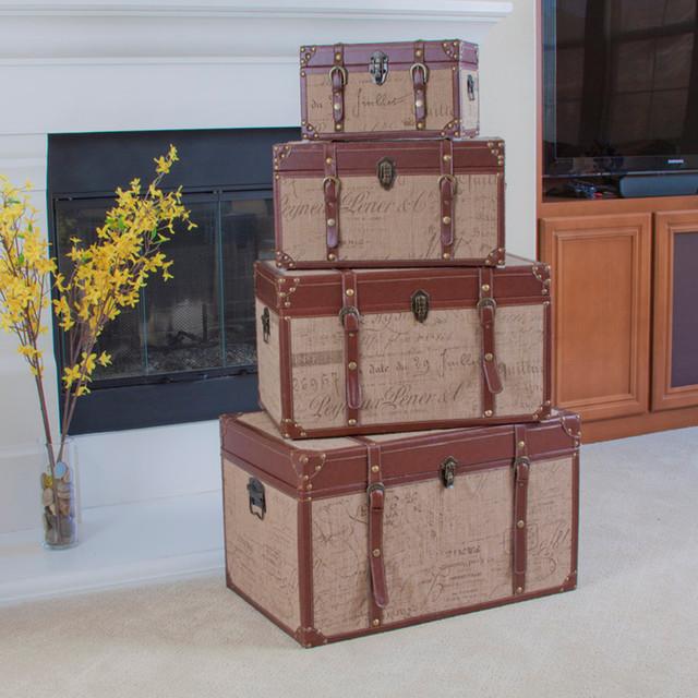 set of 4 stacking scripted sackcloth decorative storage trunks