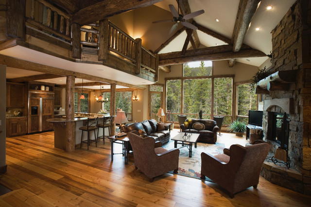 Settlers creek chalet rustic living room other metro for Mountain home designs ideas