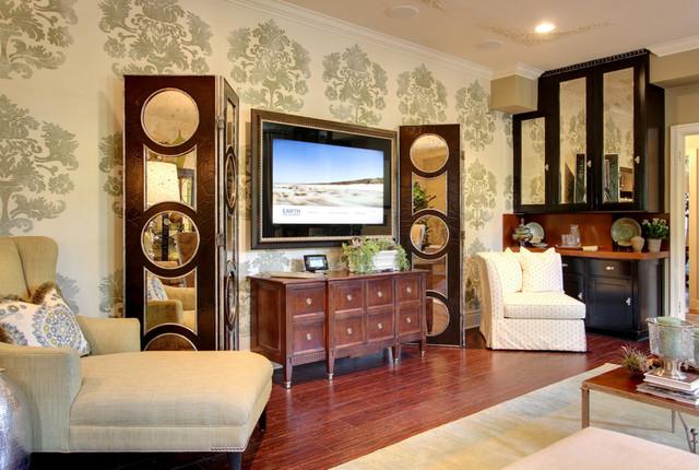 Traditional Living Room Tv séura vanishing entertainment television mirror - traditional