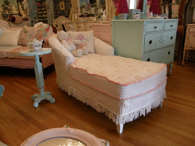 Shabby Chic Chaise Lounge Slip Covered With Vintage Chenille And Roses Fabric