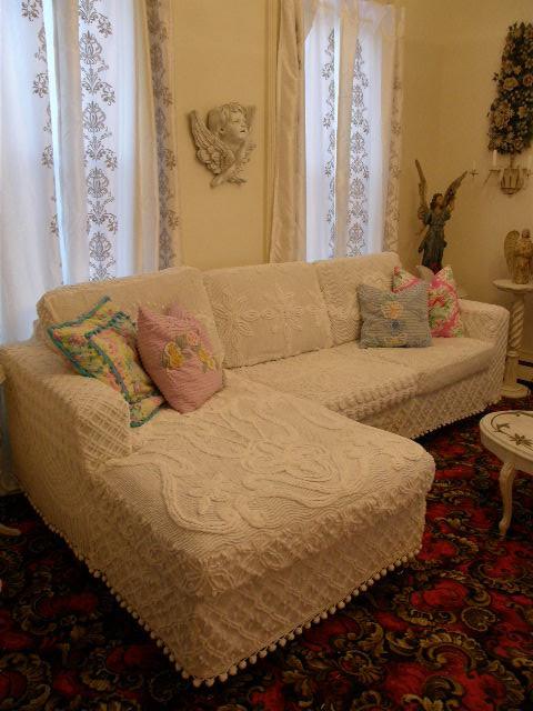 Shabby chic slipcovered sectional white vintage chenille for White shabby chic living room furniture