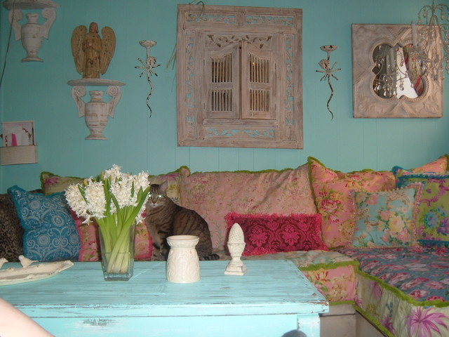 shabby chic slipcovered sofa eclectic living room