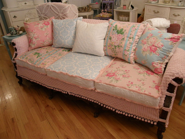shabby chic slipcovered sofa vintage chenille and roses fabrics living-room