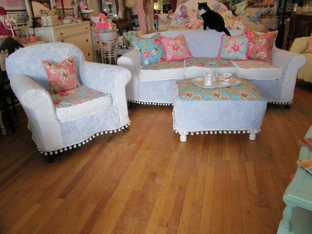 Shabby Chic Sofa Chair Ottoman Chenille Bedspread Rose