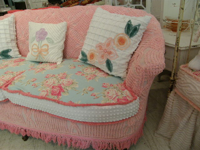 shabby chic sofa slipcovered with vintage chenille bedspreads and roses fabrics. Black Bedroom Furniture Sets. Home Design Ideas