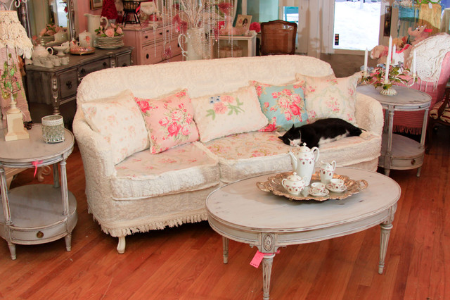 shabby chic sofa slipcovered with vintage chenille bedspreads and roses fabrics eclectic. Black Bedroom Furniture Sets. Home Design Ideas