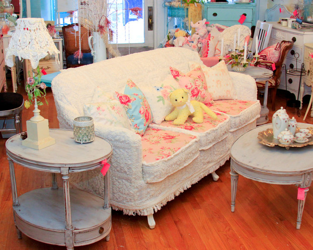 Shabby Chic Sofa Slipcovered With Vintage Chenille Bedspreads And Roses Fabrics Shabby Chic