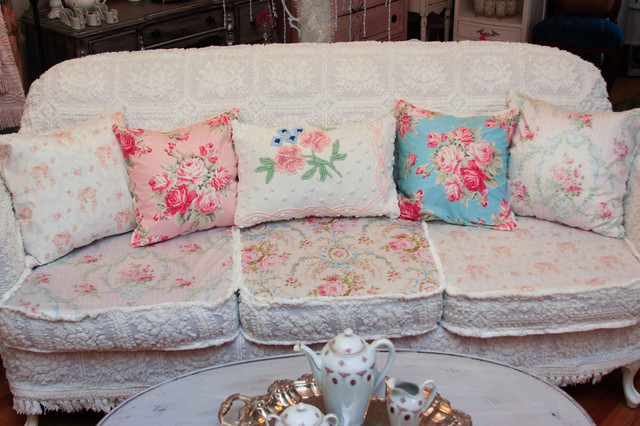 shabby chic sofa slipcovered with vintage chenille bedspreads and roses fabrics eclectic-living-room