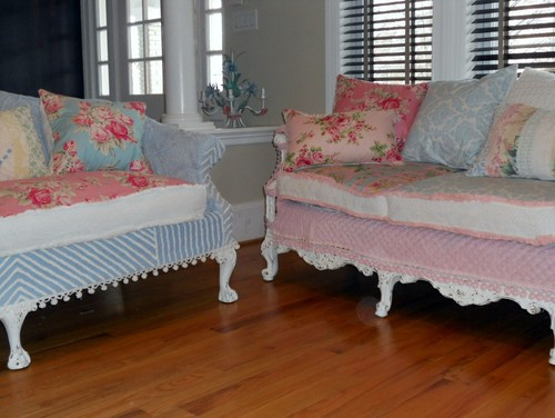 shabby chic sofas slipcovered with vintage chenille bedspreads and roses fabrics eclectic living room