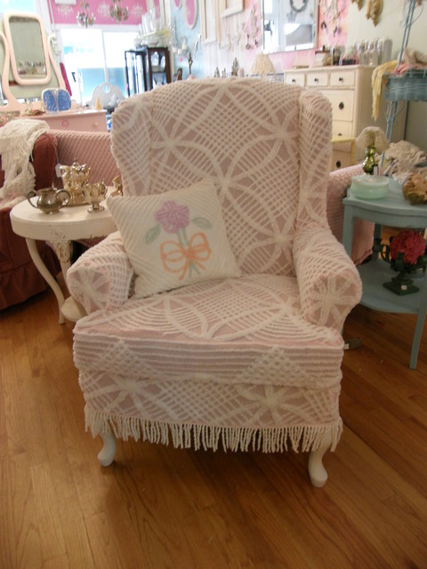 shabby chic wingback  chair slipcovered  with a vintage chenille bedspread eclectic-living-room