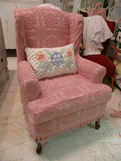 shabby chic wingback chair slipcovered with pink vintage chenille bedspread fabr eclectic living room