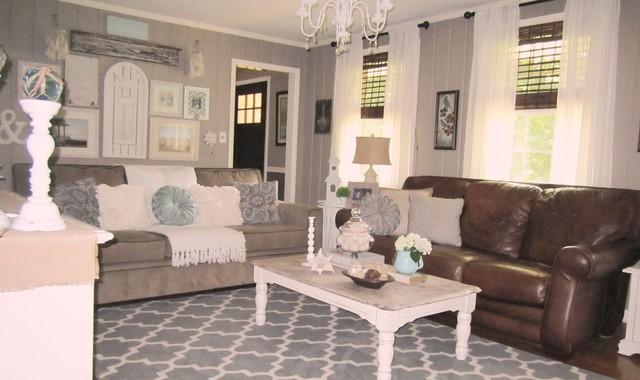 Shabby Coastal Family Room traditional-living-room