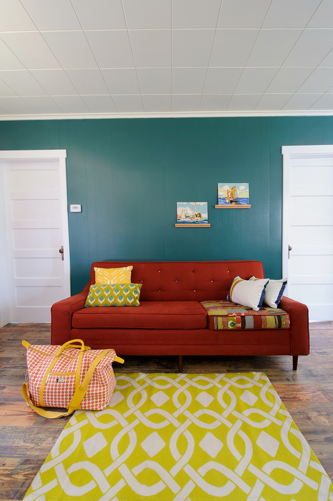 Living room - eclectic living room idea in Other with blue walls
