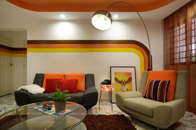 shagedelic retro apartment in singapore - modern - living room