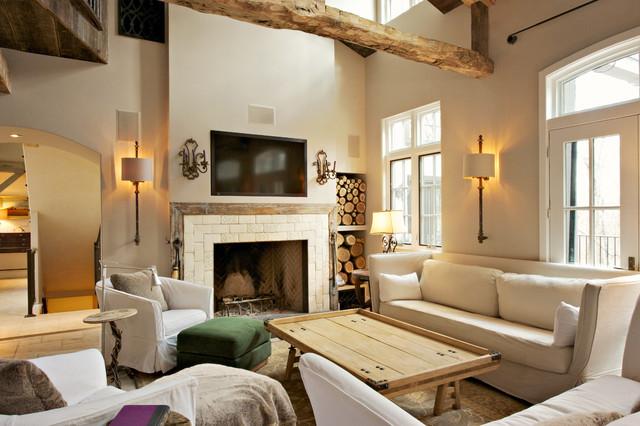 Shaggy bark farm automation farmhouse living room for Living room ideas farmhouse