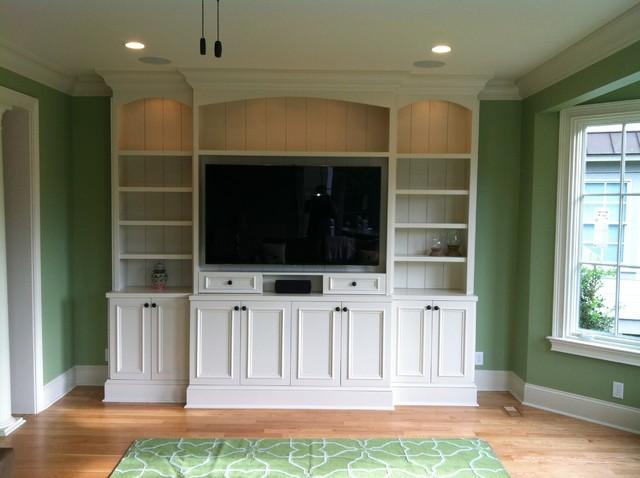 Shaker Style Built In Media Center Living Room Charleston By Woods Cabinets LLC