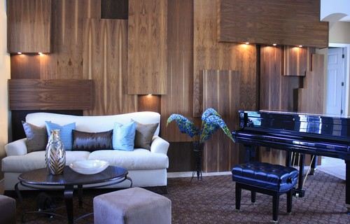 Make Your Wood Paneling A Work Of Art Contemporary Living Room