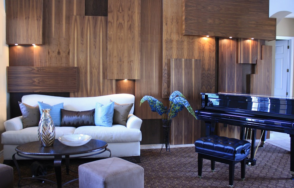 Example of a trendy living room design in Miami with a music area