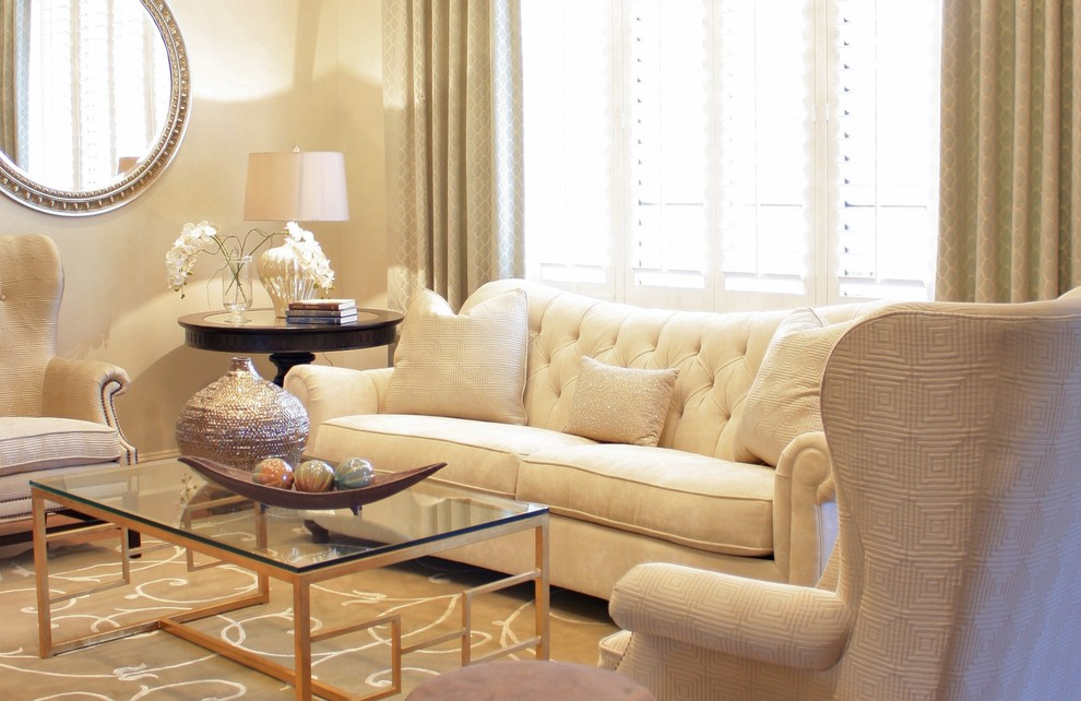 Example of a classic living room design in Orlando with beige walls