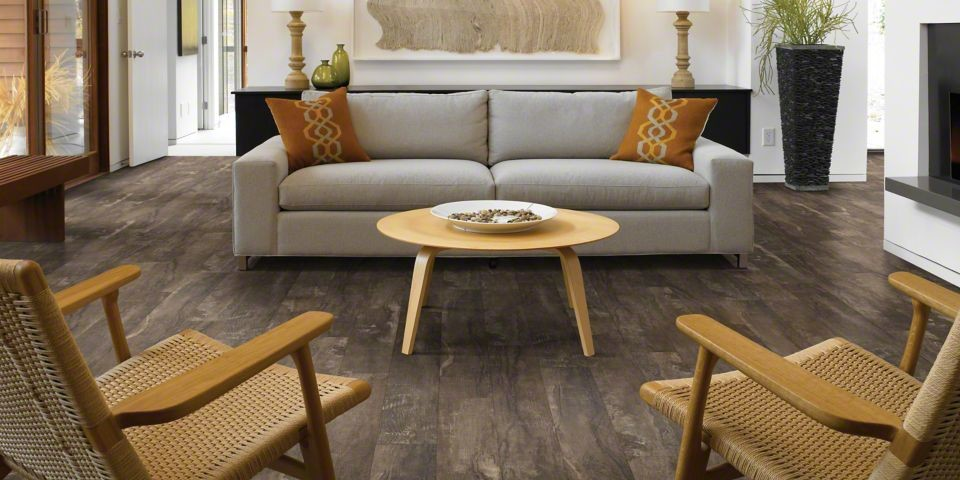 Example of a mid-sized trendy enclosed vinyl floor living room design in San Francisco