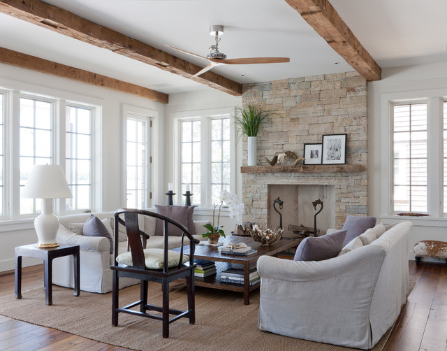 Inspiration for a beach style living room remodel in New York with stone  fireplace Wood Beam Fireplace Mantle Houzz