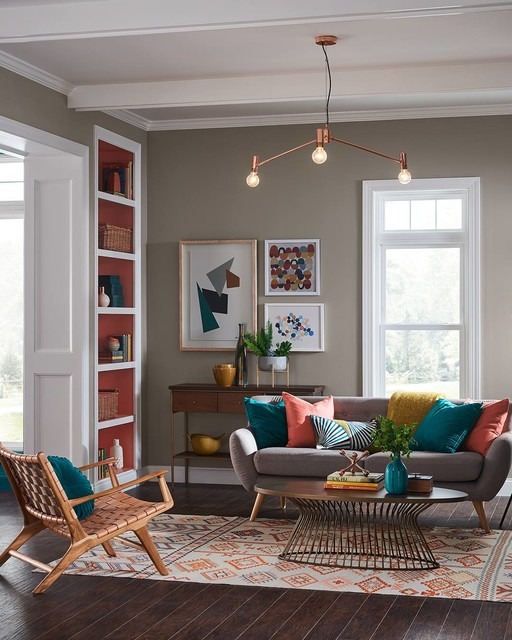 Living room - transitional dark wood floor and brown floor living room idea in Miami with gray walls
