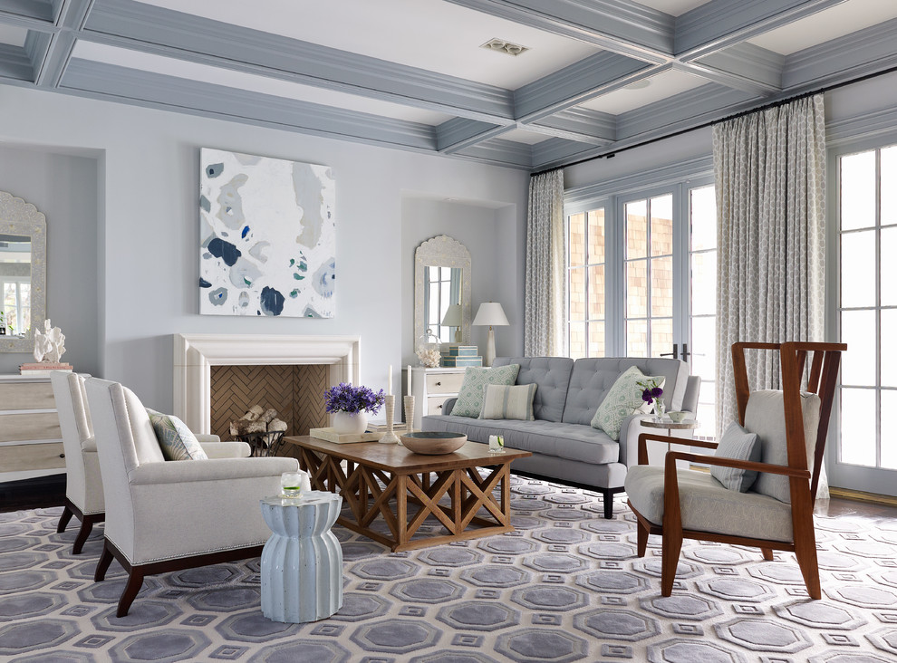 Example of a large beach style formal dark wood floor living room design in Jacksonville with gray walls and a standard fireplace