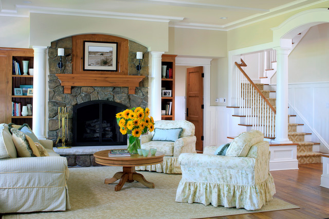 Shingle style cottage living room with fireplace for Shingle style cottage