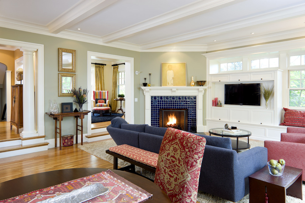Living room - victorian living room idea in Boston with a corner fireplace and a tile fireplace