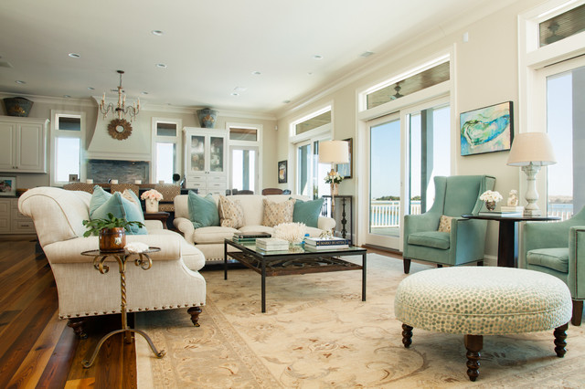 Blue Beige Living Room | Houzz