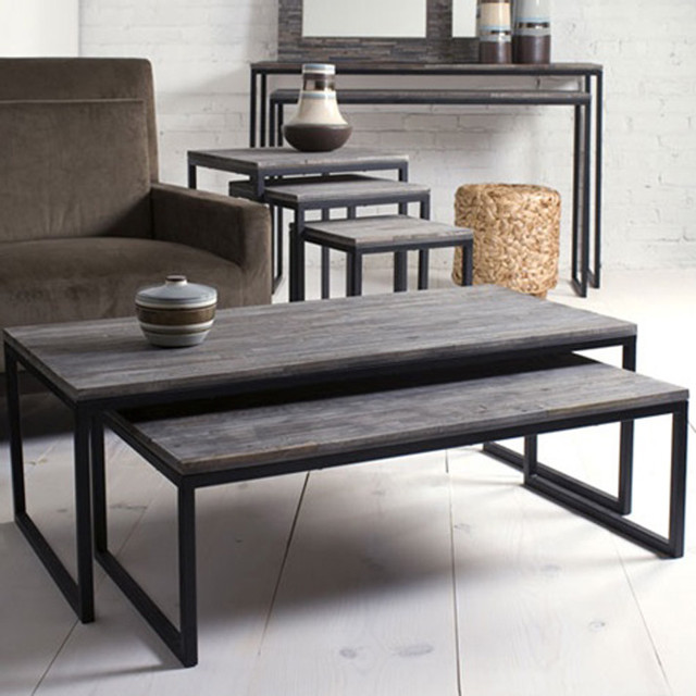 Contemporary Nesting Tables ~ Shiraleah rubberwood nesting coffee tables set of