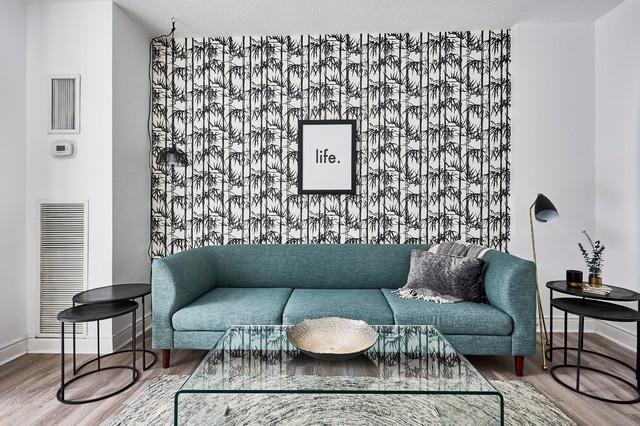 Short Term Rental Scandinavian Living Room Toronto By Fresh Start Staging