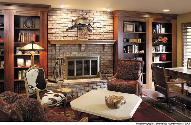 Wooden Den Cabinets ~ Showplace cabinets den traditional living room