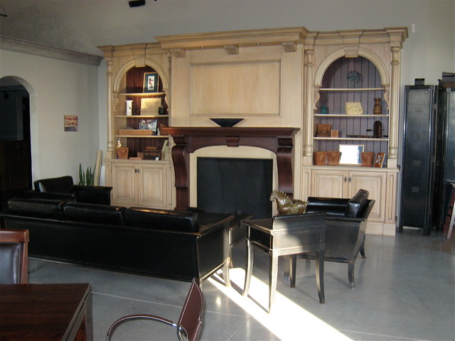 Showroom Fireplace Wall Unit Traditional Living Room