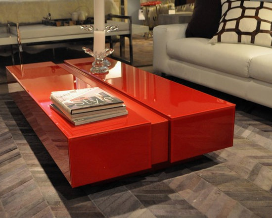 Showroom Pieces - Red Lacquer & Glass Coffee Table