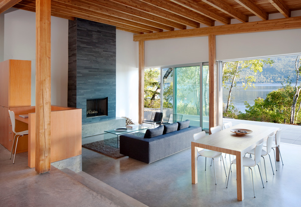 Inspiration for a modern concrete floor living room remodel in Vancouver