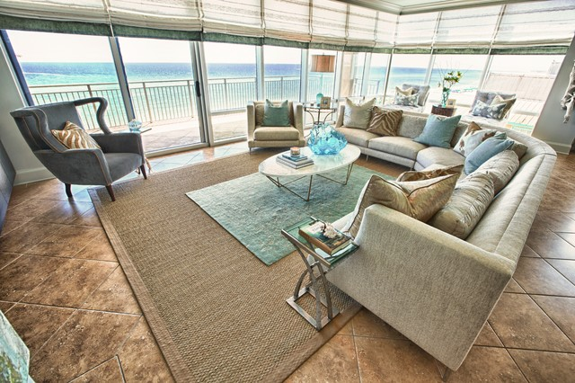 Classic And Relaxed Beach Condo Tropical Living Room Modern Condo ...