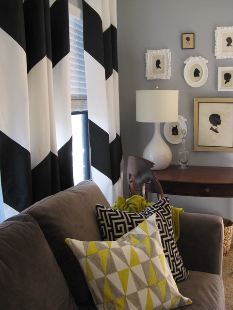 Silhouettes and chevron curtain living room vignette eclectic living room los angeles by for Chevron curtains in living room