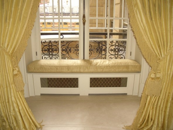 Silk window seat cushions curtains for Window seat curtains