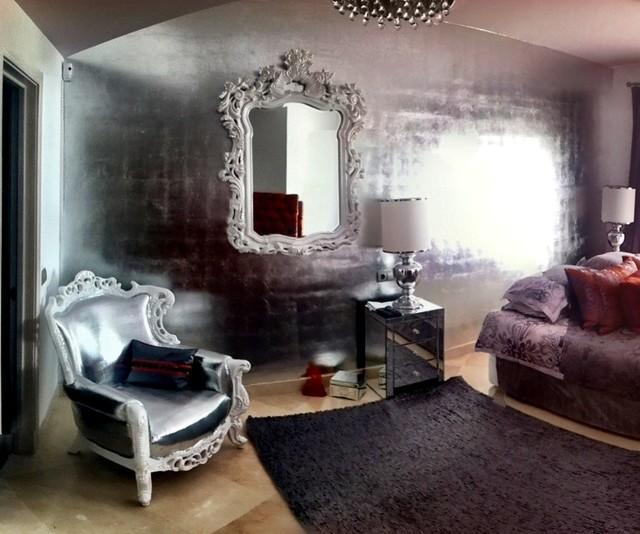 silver gilded wall - modern - living room - malaga -conrad