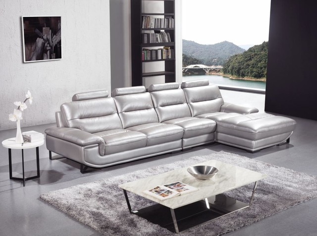 Silver Sectional Sofa In High Quality Leather Modern Living Room