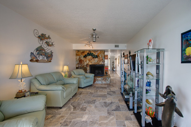 Silver Travertine Tiles eclectic-living-room