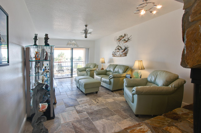 Silver Travertine Tiles Eclectic Living Room Tampa