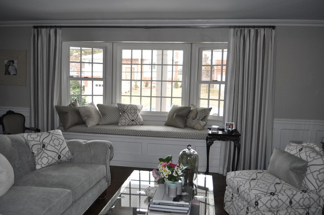 Silvery Grey Formal Beachy Living Room - Contemporary ...