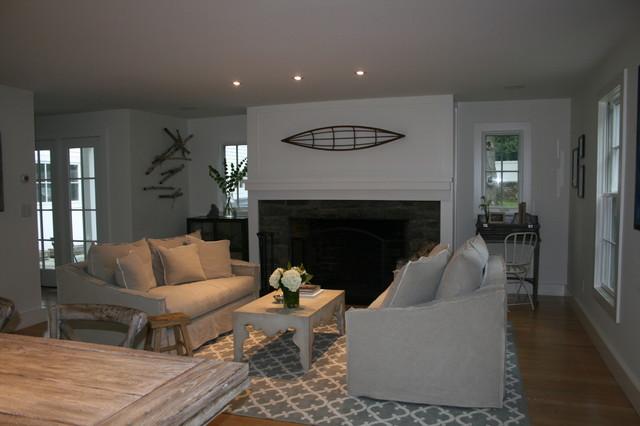 Compo Beach Home beach-style-living-room